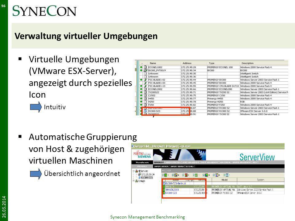 Verwaltung virtueller Umgebungen Virtuelle Umgebungen (VMware ESX-Server), angezeigt durch spezielles Icon Automatische Gruppierung von Host & zugehör