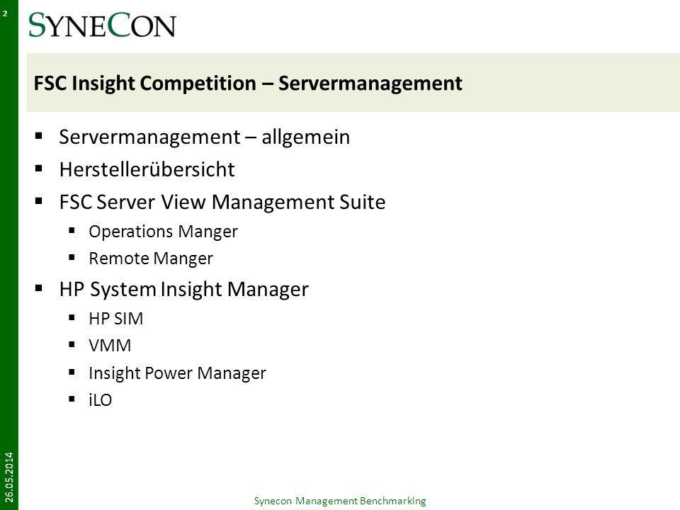FSC Insight Competition – Servermanagement Servermanagement – allgemein Herstellerübersicht FSC Server View Management Suite Operations Manger Remote Manger HP System Insight Manager HP SIM VMM Insight Power Manager iLO Synecon Management Benchmarking 26.05.2014 2