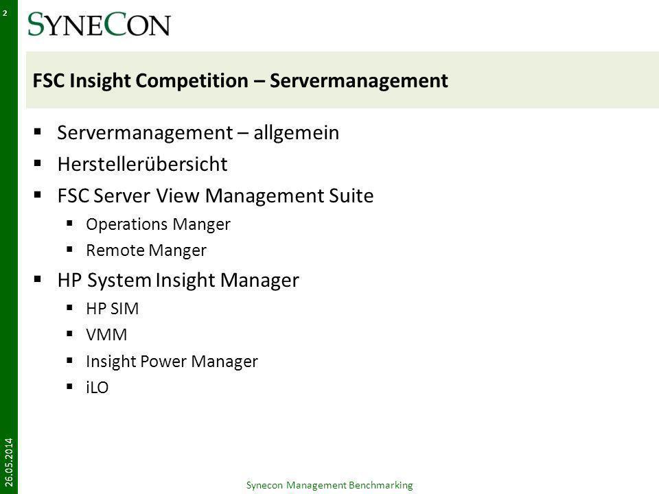 FSC Insight Competition – Servermanagement Servermanagement – allgemein Herstellerübersicht FSC Server View Management Suite Operations Manger Remote