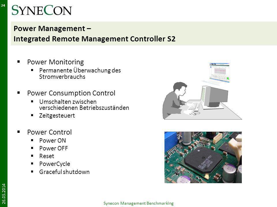 Power Management – Integrated Remote Management Controller S2 Power Monitoring Permanente Überwachung des Stromverbrauchs Power Consumption Control Um