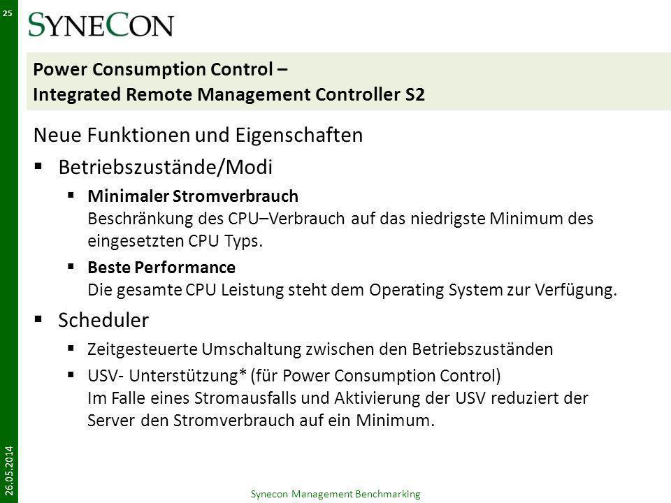Power Consumption Control – Integrated Remote Management Controller S2 Neue Funktionen und Eigenschaften Betriebszustände/Modi Minimaler Stromverbrauc