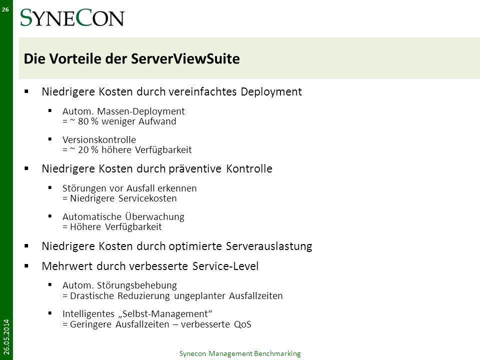 Die Vorteile der ServerViewSuite Niedrigere Kosten durch vereinfachtes Deployment Autom. Massen-Deployment = ~ 80 % weniger Aufwand Versionskontrolle