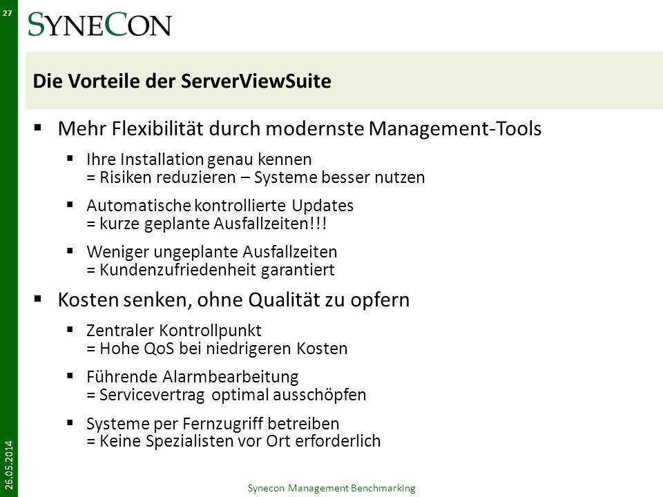 Die Vorteile der ServerViewSuite Mehr Flexibilität durch modernste Management-Tools Ihre Installation genau kennen = Risiken reduzieren – Systeme bess