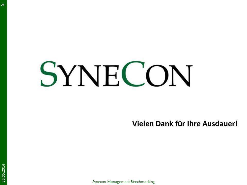 Vielen Dank für Ihre Ausdauer! 26.05.2014 Synecon Management Benchmarking 28