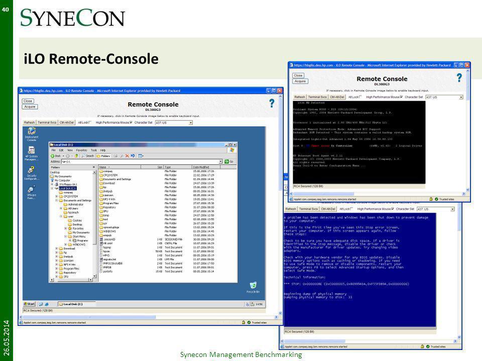 iLO Remote-Console 26.05.2014 Synecon Management Benchmarking 40