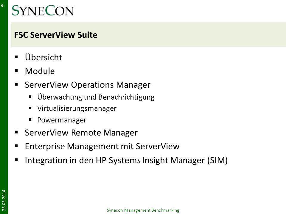 HP Systems Insight Manager (SIM) Übersicht Module Überwachung und Benachrichtigung Virtual Maschine Management – VMM Insight Power Manager Remote Management - iLO Synecon Management Benchmarking 26.05.2014 30