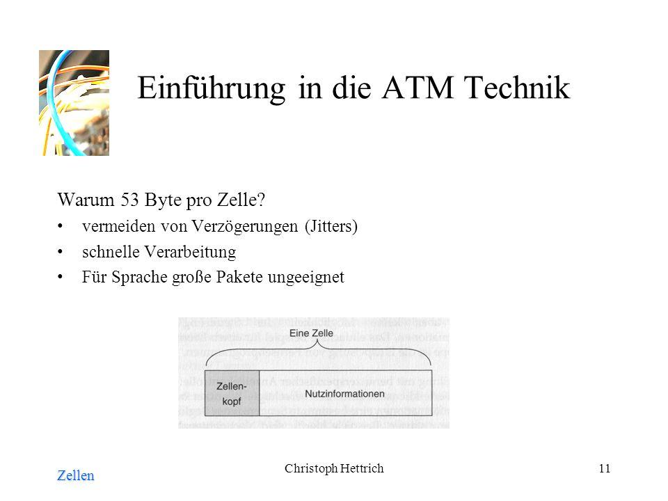 Christoph Hettrich11 Einführung in die ATM Technik Warum 53 Byte pro Zelle.