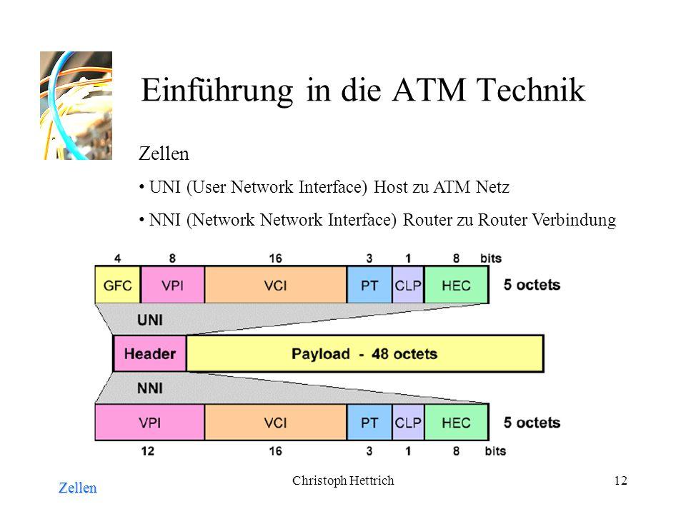 Christoph Hettrich12 Einführung in die ATM Technik Zellen Zellen UNI (User Network Interface) Host zu ATM Netz NNI (Network Network Interface) Router zu Router Verbindung