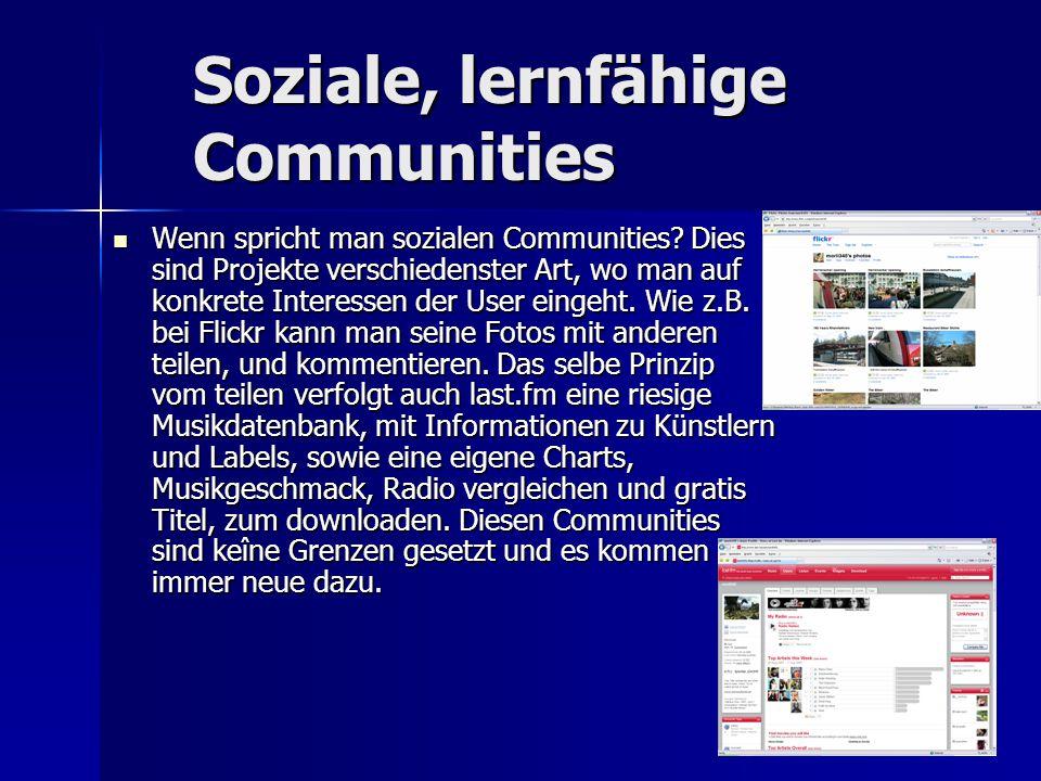Soziale, lernfähige Communities Wenn spricht man sozialen Communities? Dies sind Projekte verschiedenster Art, wo man auf konkrete Interessen der User