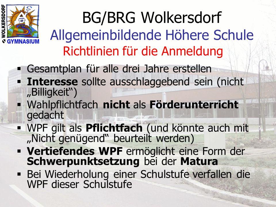 BG/BRG Wolkersdorf Allgemeinbildende Höhere Schule Richtlinien für die Anmeldung Gesamtplan für alle drei Jahre erstellen Interesse sollte ausschlagge