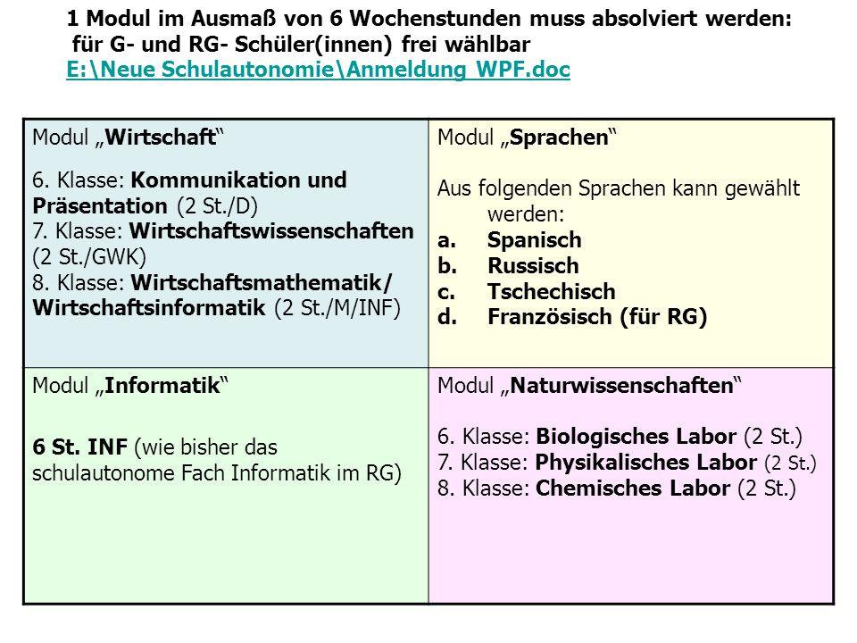 Modul Wirtschaft 6. Klasse: Kommunikation und Präsentation (2 St./D) 7. Klasse: Wirtschaftswissenschaften (2 St./GWK) 8. Klasse: Wirtschaftsmathematik