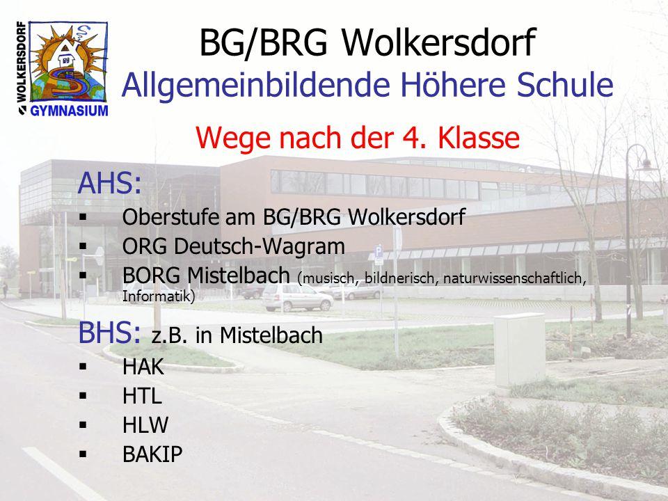BG/BRG Wolkersdorf Allgemeinbildende Höhere Schule Wege nach der 4. Klasse AHS: Oberstufe am BG/BRG Wolkersdorf ORG Deutsch-Wagram BORG Mistelbach (mu