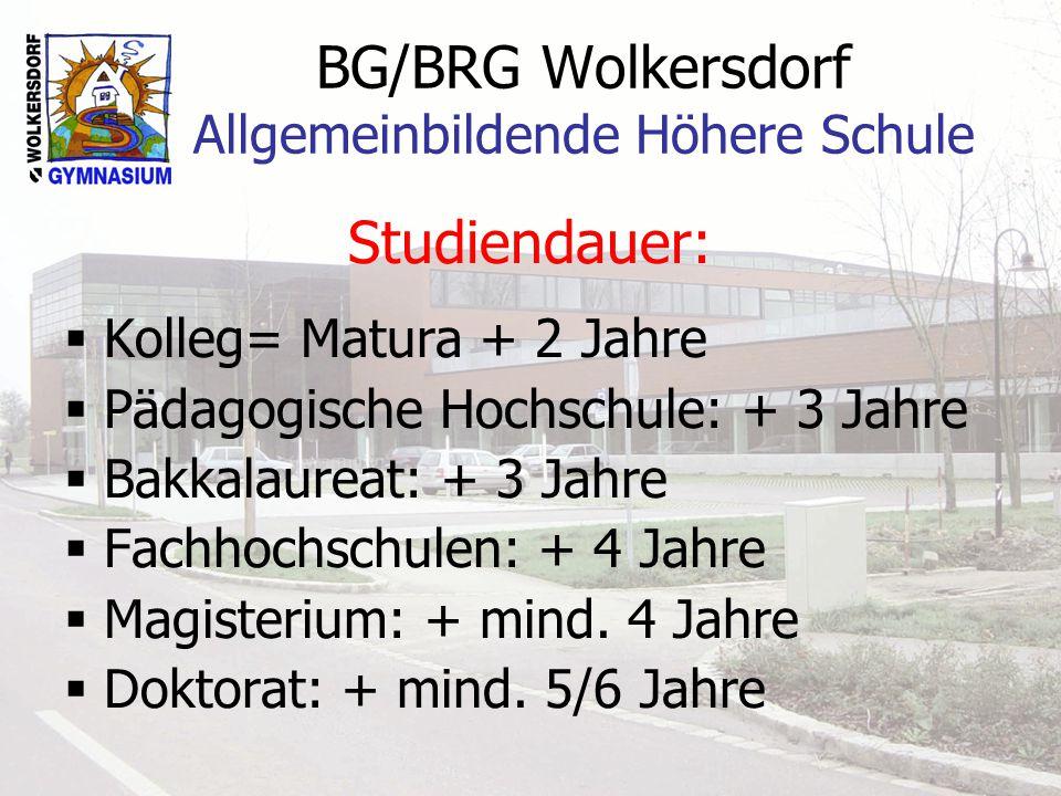 BG/BRG Wolkersdorf Allgemeinbildende Höhere Schule Studiendauer: Kolleg= Matura + 2 Jahre Pädagogische Hochschule: + 3 Jahre Bakkalaureat: + 3 Jahre Fachhochschulen: + 4 Jahre Magisterium: + mind.