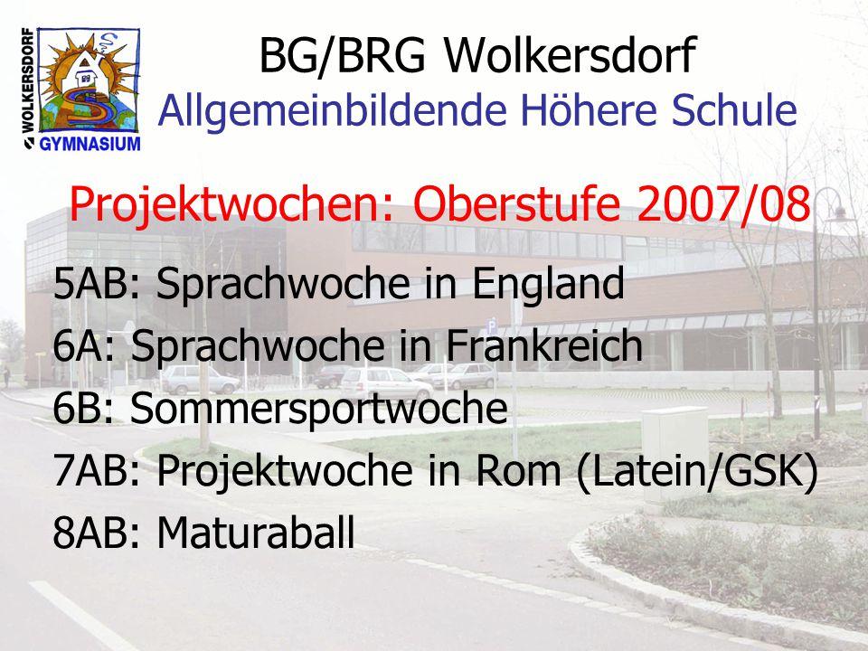 BG/BRG Wolkersdorf Allgemeinbildende Höhere Schule Projektwochen: Oberstufe 2007/08 5AB: Sprachwoche in England 6A: Sprachwoche in Frankreich 6B: Sommersportwoche 7AB: Projektwoche in Rom (Latein/GSK) 8AB: Maturaball