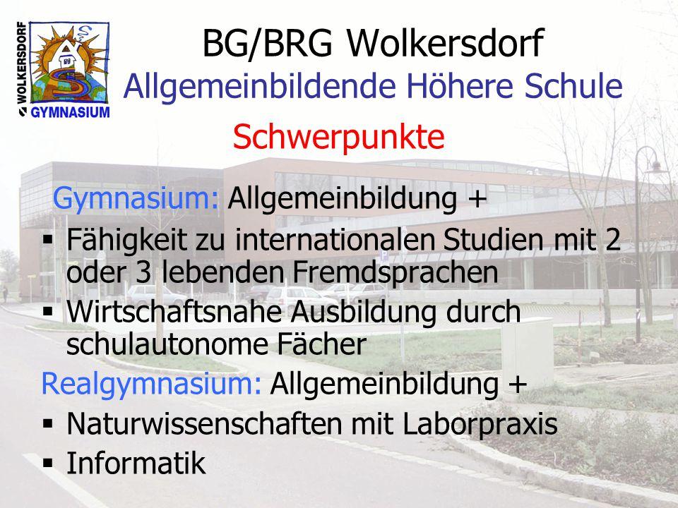 BG/BRG Wolkersdorf Allgemeinbildende Höhere Schule Schwerpunkte Gymnasium: Allgemeinbildung + Fähigkeit zu internationalen Studien mit 2 oder 3 lebenden Fremdsprachen Wirtschaftsnahe Ausbildung durch schulautonome Fächer Realgymnasium: Allgemeinbildung + Naturwissenschaften mit Laborpraxis Informatik