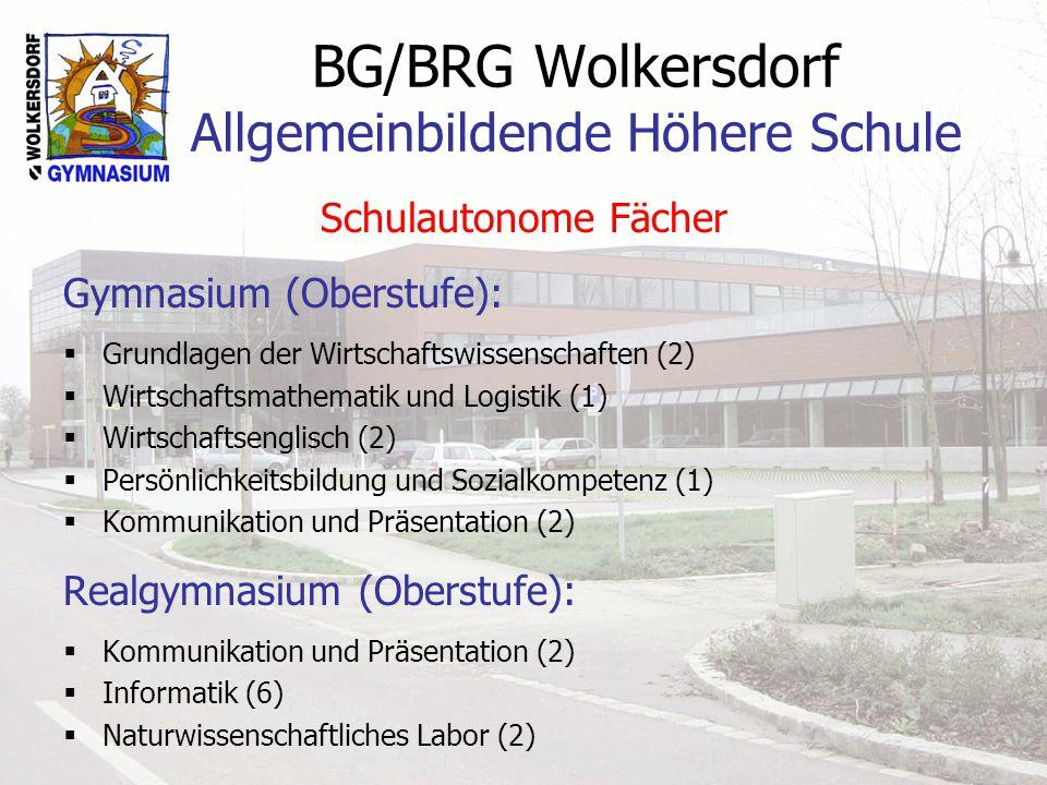 BG/BRG Wolkersdorf Allgemeinbildende Höhere Schule Schulautonome Fächer Gymnasium (Oberstufe): Grundlagen der Wirtschaftswissenschaften (2) Wirtschaftsmathematik und Logistik (1) Wirtschaftsenglisch (2) Persönlichkeitsbildung und Sozialkompetenz (1) Kommunikation und Präsentation (2) Realgymnasium (Oberstufe): Kommunikation und Präsentation (2) Informatik (6) Naturwissenschaftliches Labor (2)