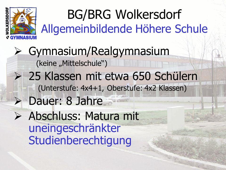 BG/BRG Wolkersdorf Allgemeinbildende Höhere Schule Gymnasium/Realgymnasium (keine Mittelschule) 25 Klassen mit etwa 650 Schülern (Unterstufe: 4x4+1, Oberstufe: 4x2 Klassen) Dauer: 8 Jahre Abschluss: Matura mit uneingeschränkter Studienberechtigung