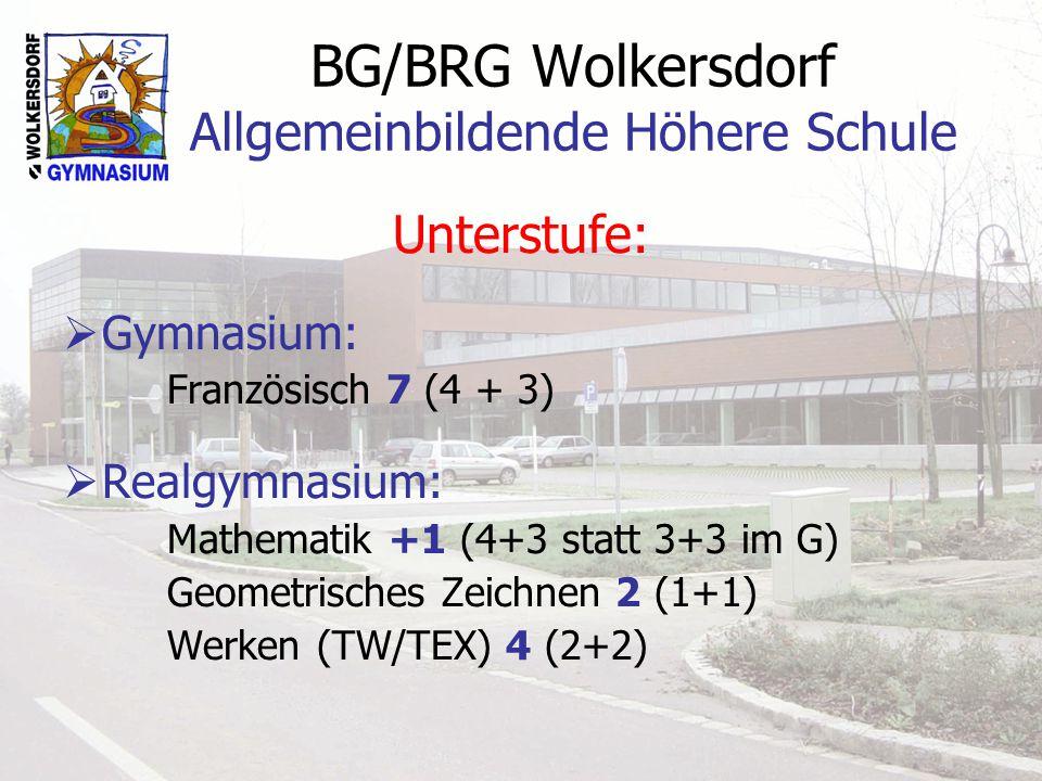 BG/BRG Wolkersdorf Allgemeinbildende Höhere Schule Unterstufe: Gymnasium: Französisch 7 (4 + 3) Realgymnasium: Mathematik +1 (4+3 statt 3+3 im G) Geometrisches Zeichnen 2 (1+1) Werken (TW/TEX) 4 (2+2)