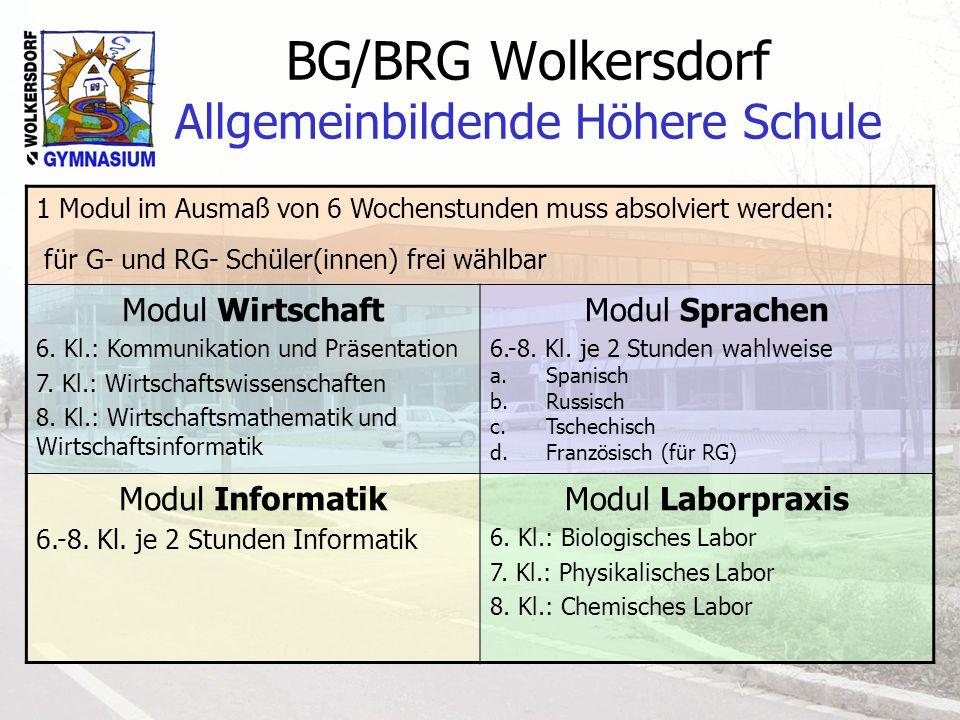 BG/BRG Wolkersdorf Allgemeinbildende Höhere Schule 1 Modul im Ausmaß von 6 Wochenstunden muss absolviert werden: für G- und RG- Schüler(innen) frei wählbar Modul Wirtschaft 6.