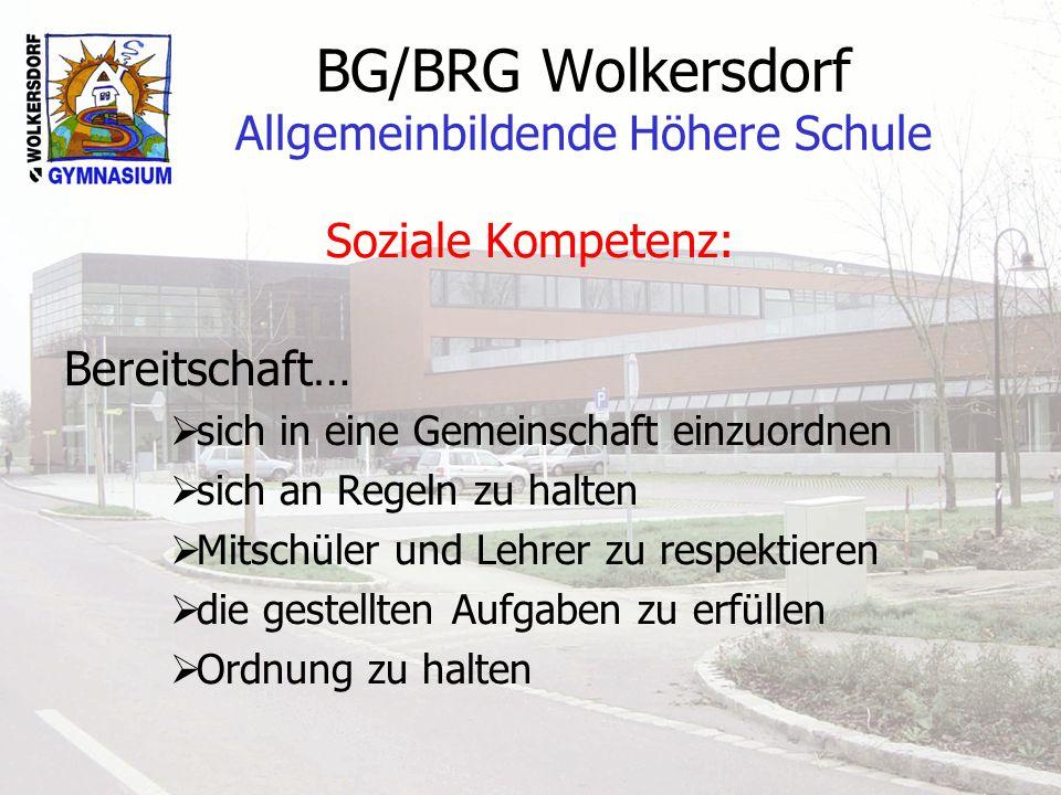BG/BRG Wolkersdorf Allgemeinbildende Höhere Schule In der AHS ist nicht vorgesehen: Gezielte Fördermaßnahmen zur Behebung von Lernschwächen Spezielle Betreuung von Legasthenikern Einsatz von Stützlehrern