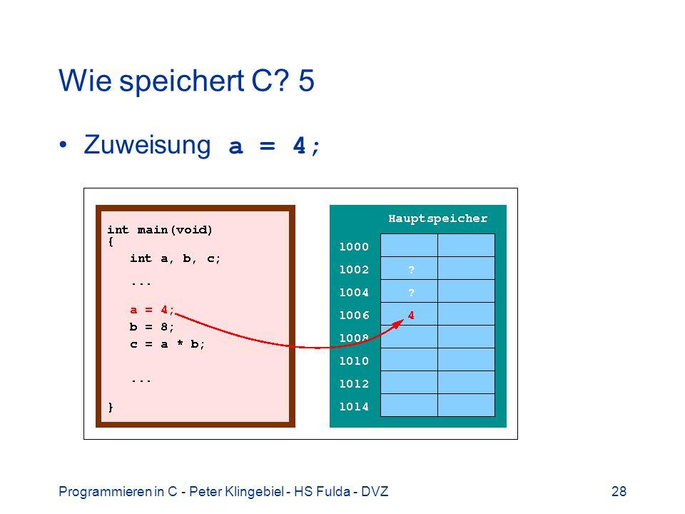 Programmieren in C - Peter Klingebiel - HS Fulda - DVZ28 Wie speichert C? 5 Zuweisung a = 4;
