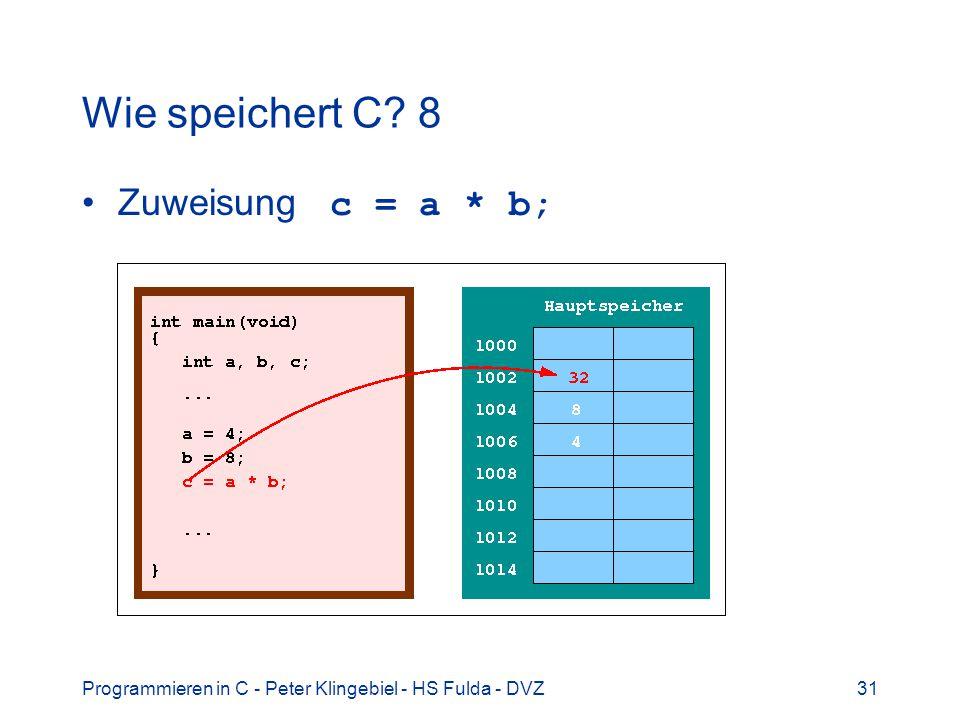 Programmieren in C - Peter Klingebiel - HS Fulda - DVZ31 Wie speichert C? 8 Zuweisung c = a * b;