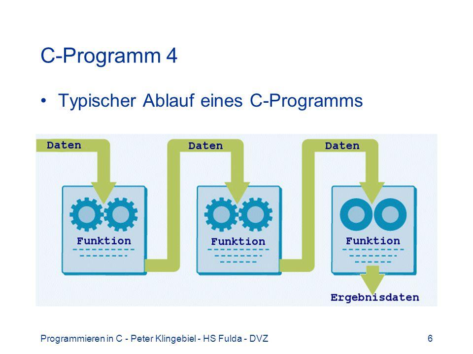 Programmieren in C - Peter Klingebiel - HS Fulda - DVZ7 7 C-Programm 5 C-Programme bestehen aus Dateien in Verzeichnissen auf dem Rechner Der Quellcode befindet sich in C-Dateien –Reine Textdateien, keine Formatierung u.ä.