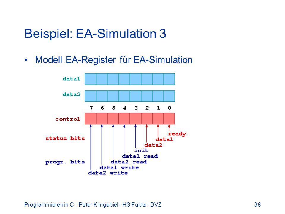 Programmieren in C - Peter Klingebiel - HS Fulda - DVZ38 Beispiel: EA-Simulation 3 Modell EA-Register für EA-Simulation