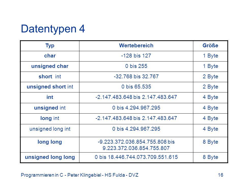 Programmieren in C - Peter Klingebiel - HS Fulda - DVZ16 Datentypen 4 TypWertebereichGröße char-128 bis 1271 Byte unsigned char0 bis 2551 Byte short i