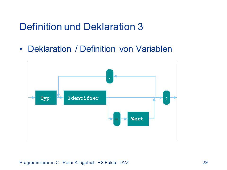 Programmieren in C - Peter Klingebiel - HS Fulda - DVZ29 Definition und Deklaration 3 Deklaration / Definition von Variablen