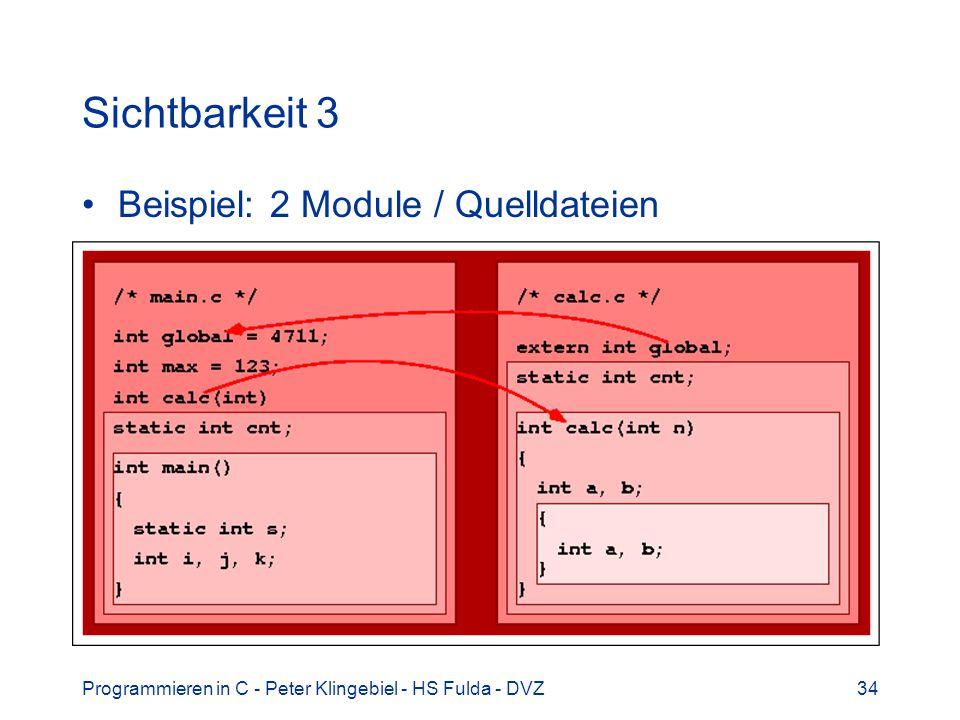 Programmieren in C - Peter Klingebiel - HS Fulda - DVZ34 Sichtbarkeit 3 Beispiel: 2 Module / Quelldateien