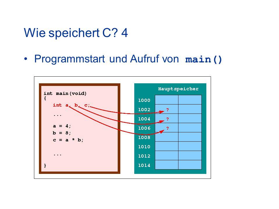 Wie speichert C? 4 Programmstart und Aufruf von main()