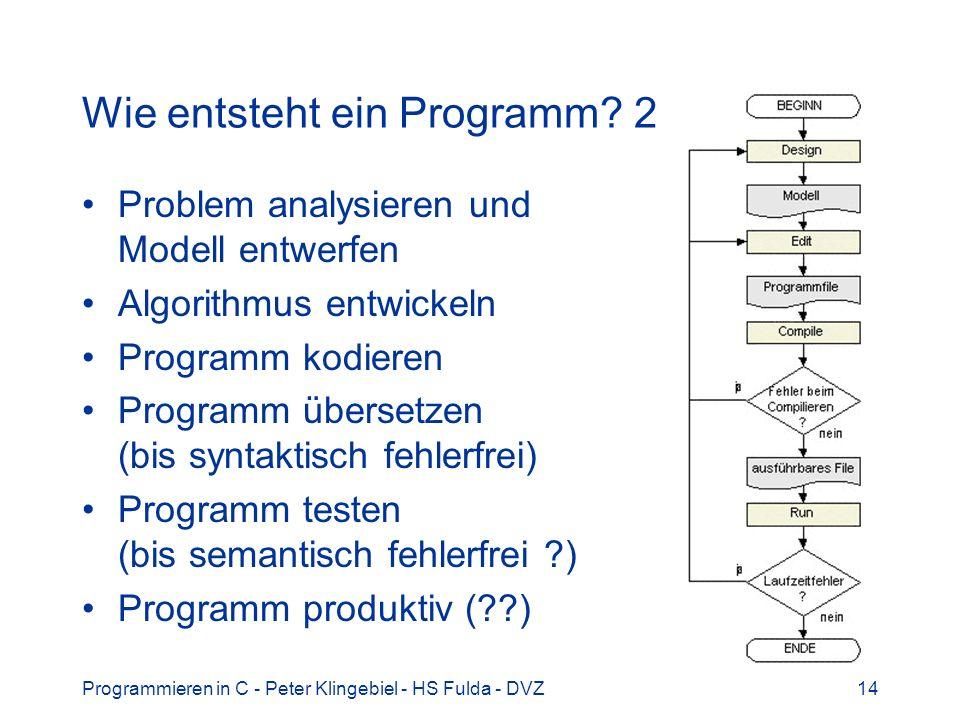 Programmieren in C - Peter Klingebiel - HS Fulda - DVZ14 Wie entsteht ein Programm? 2 Problem analysieren und Modell entwerfen Algorithmus entwickeln