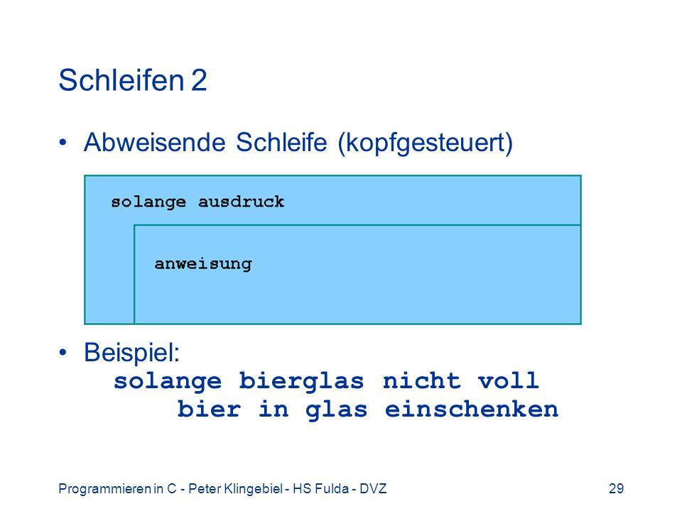 Programmieren in C - Peter Klingebiel - HS Fulda - DVZ29 Schleifen 2 Abweisende Schleife (kopfgesteuert) Beispiel: solange bierglas nicht voll bier in