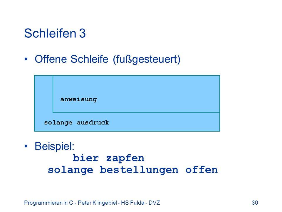 Programmieren in C - Peter Klingebiel - HS Fulda - DVZ30 Schleifen 3 Offene Schleife (fußgesteuert) Beispiel: bier zapfen solange bestellungen offen