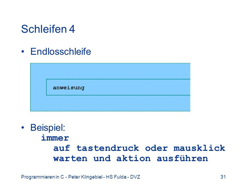 Programmieren in C - Peter Klingebiel - HS Fulda - DVZ31 Schleifen 4 Endlosschleife Beispiel: immer auf tastendruck oder mausklick warten und aktion a