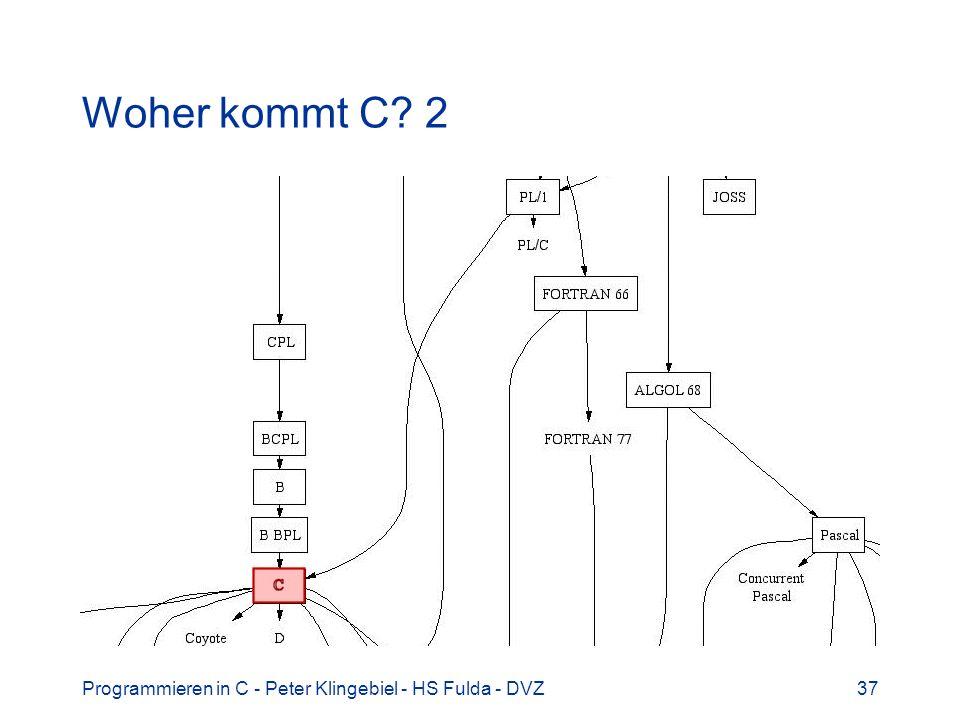 Programmieren in C - Peter Klingebiel - HS Fulda - DVZ37 Woher kommt C? 2