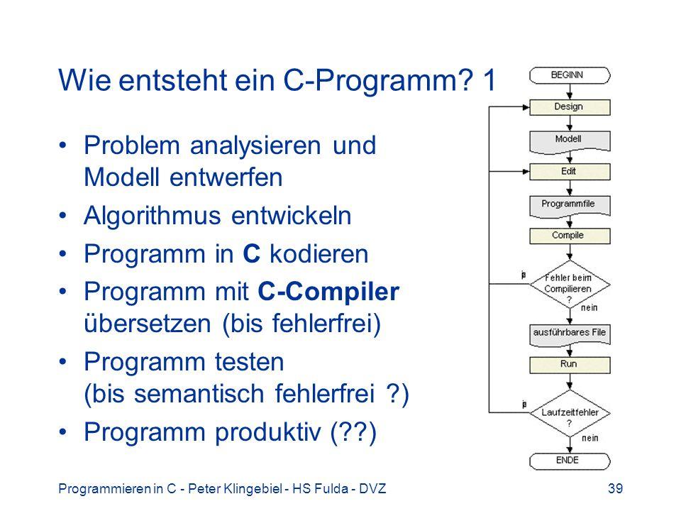 Programmieren in C - Peter Klingebiel - HS Fulda - DVZ39 Wie entsteht ein C-Programm? 1 Problem analysieren und Modell entwerfen Algorithmus entwickel