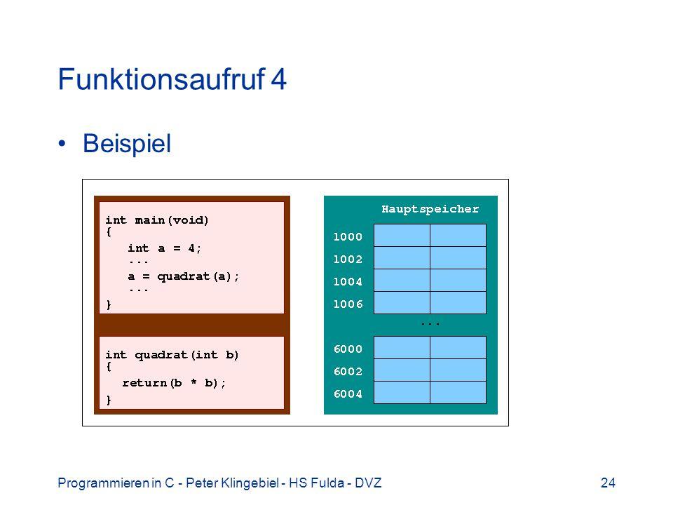 Programmieren in C - Peter Klingebiel - HS Fulda - DVZ24 Funktionsaufruf 4 Beispiel
