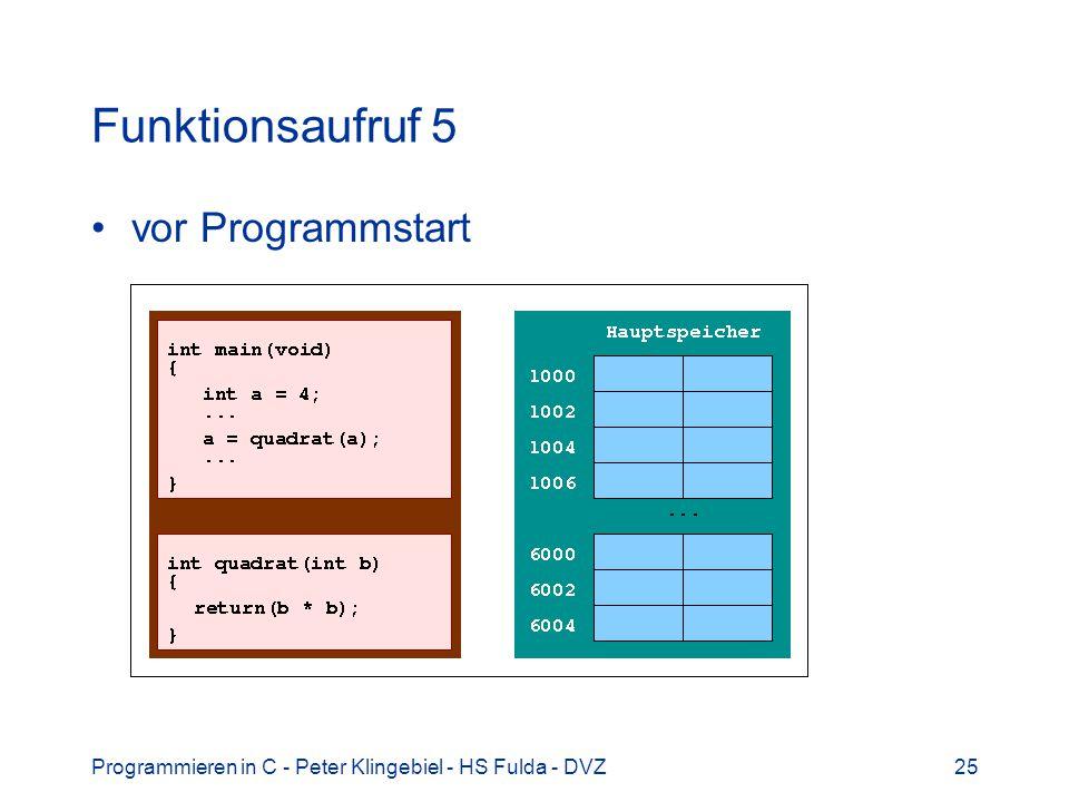 Programmieren in C - Peter Klingebiel - HS Fulda - DVZ25 Funktionsaufruf 5 vor Programmstart