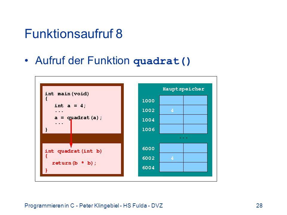 Programmieren in C - Peter Klingebiel - HS Fulda - DVZ28 Funktionsaufruf 8 Aufruf der Funktion quadrat()