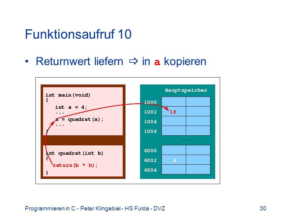 Programmieren in C - Peter Klingebiel - HS Fulda - DVZ30 Funktionsaufruf 10 Returnwert liefern in a kopieren