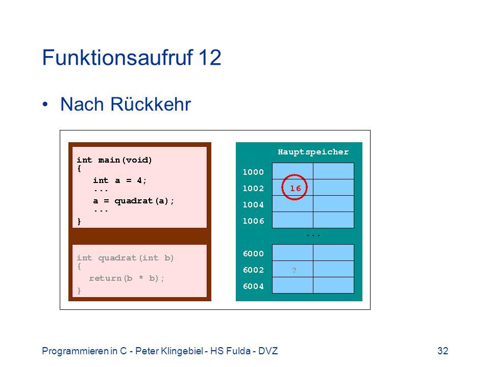 Programmieren in C - Peter Klingebiel - HS Fulda - DVZ32 Funktionsaufruf 12 Nach Rückkehr