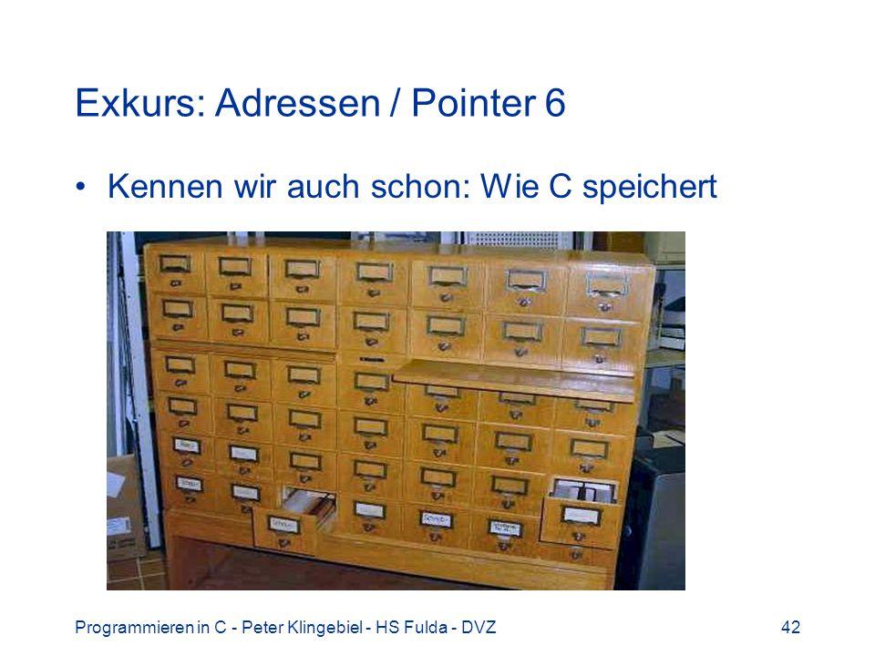 Programmieren in C - Peter Klingebiel - HS Fulda - DVZ42 Exkurs: Adressen / Pointer 6 Kennen wir auch schon: Wie C speichert