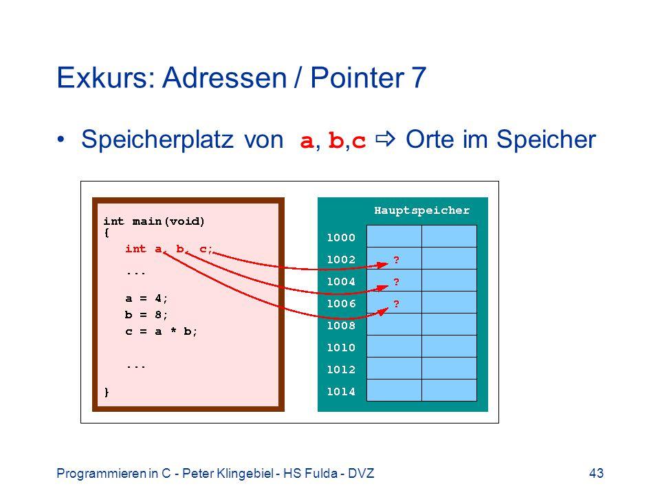 Programmieren in C - Peter Klingebiel - HS Fulda - DVZ43 Exkurs: Adressen / Pointer 7 Speicherplatz von a, b, c Orte im Speicher