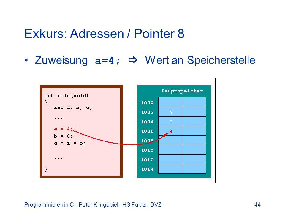 Programmieren in C - Peter Klingebiel - HS Fulda - DVZ44 Exkurs: Adressen / Pointer 8 Zuweisung a=4; Wert an Speicherstelle