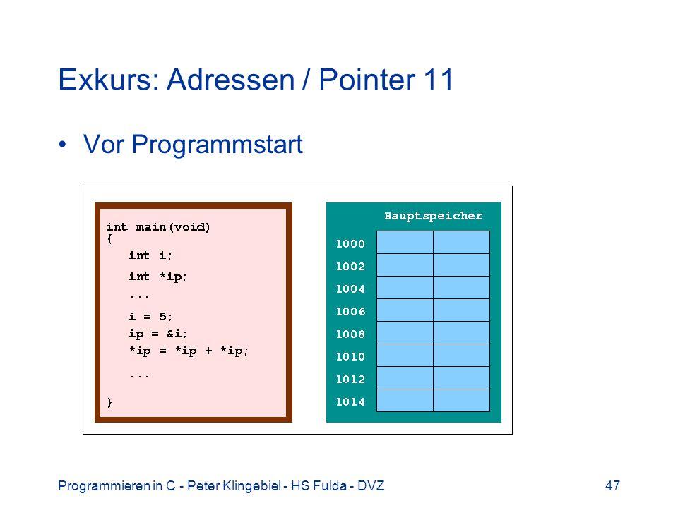 Programmieren in C - Peter Klingebiel - HS Fulda - DVZ47 Exkurs: Adressen / Pointer 11 Vor Programmstart