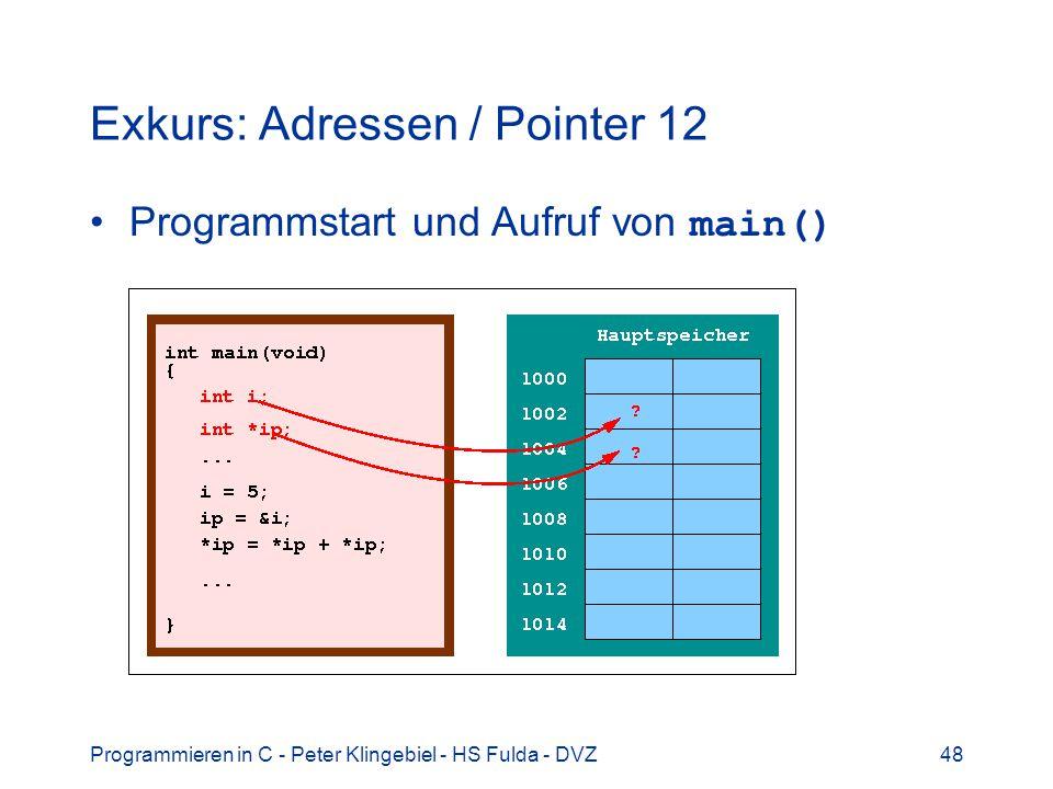 Programmieren in C - Peter Klingebiel - HS Fulda - DVZ48 Exkurs: Adressen / Pointer 12 Programmstart und Aufruf von main()