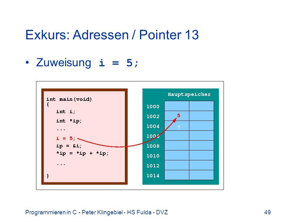 Programmieren in C - Peter Klingebiel - HS Fulda - DVZ49 Exkurs: Adressen / Pointer 13 Zuweisung i = 5;