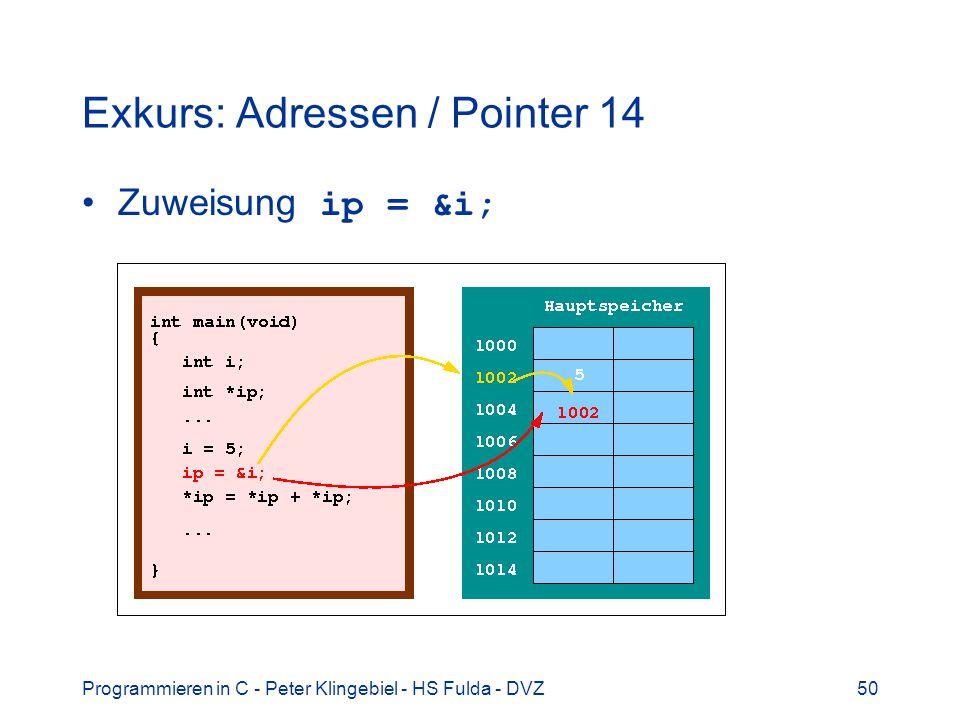 Programmieren in C - Peter Klingebiel - HS Fulda - DVZ50 Exkurs: Adressen / Pointer 14 Zuweisung ip = &i;
